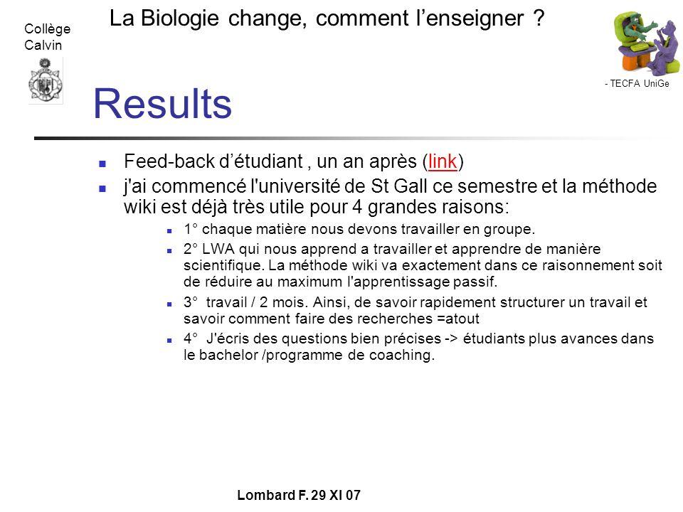 Results Feed-back d'étudiant , un an après (link)