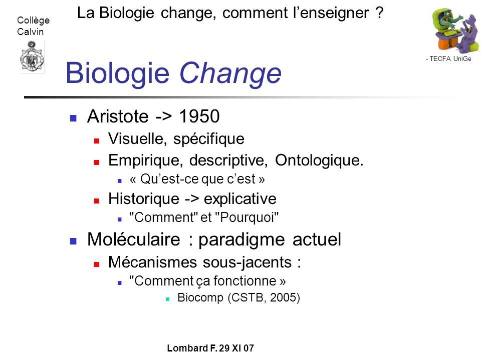 Biologie Change Aristote -> 1950 Moléculaire : paradigme actuel
