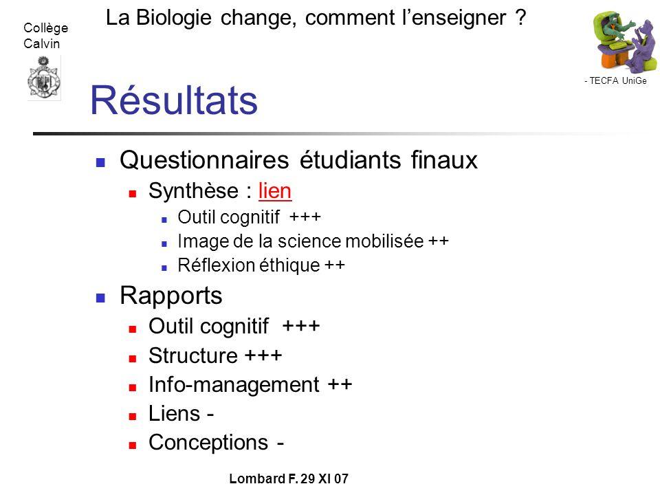 Résultats Questionnaires étudiants finaux Rapports Synthèse : lien