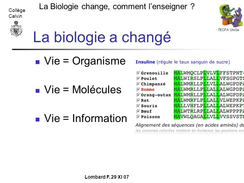 La biologie a changé Vie = Organisme Vie = Molécules Vie = Information