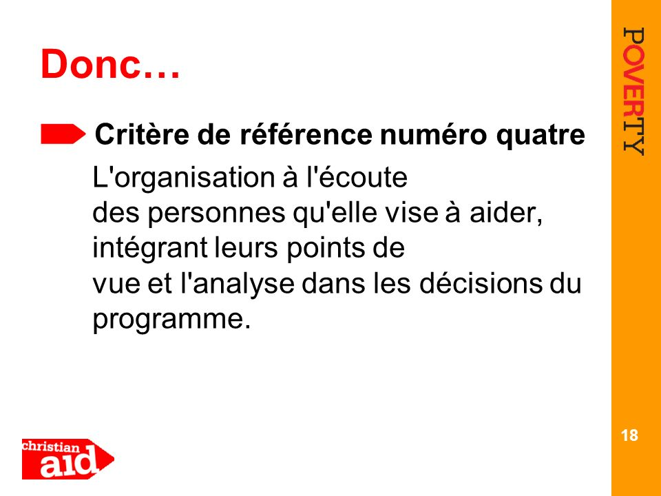 Donc… Critère de référence numéro quatre
