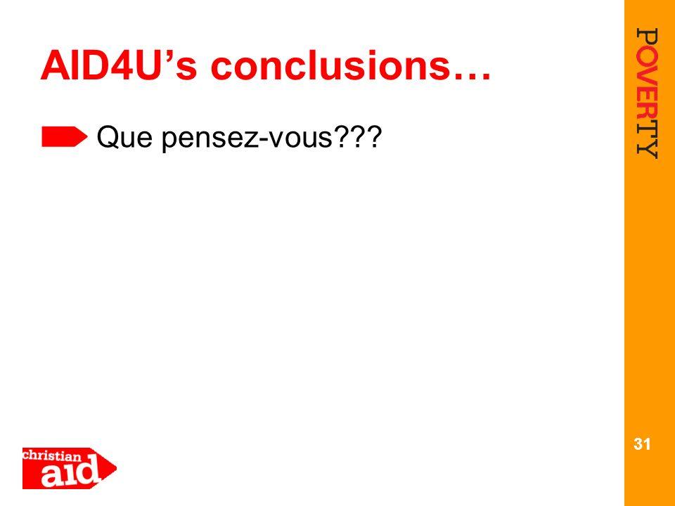 AID4U's conclusions… Que pensez-vous