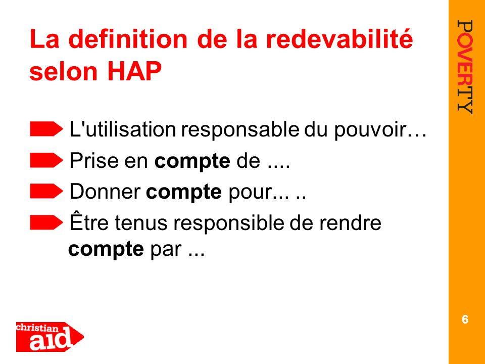 La definition de la redevabilité selon HAP