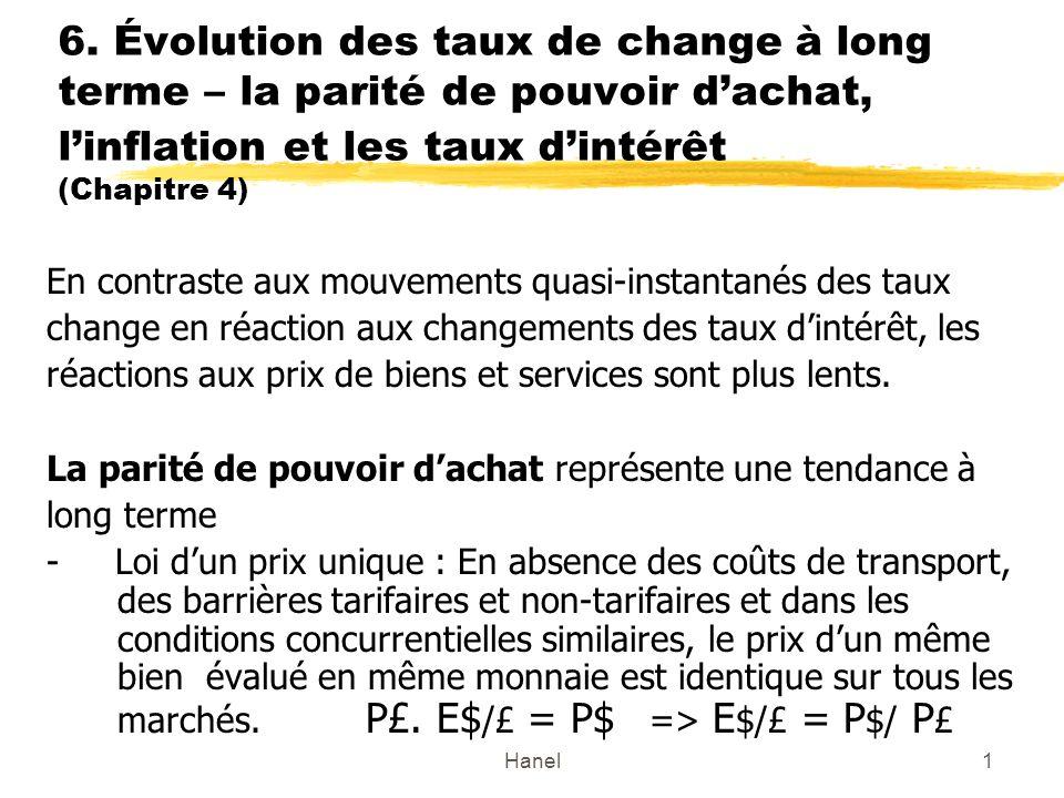 6. Évolution des taux de change à long terme – la parité de pouvoir d'achat, l'inflation et les taux d'intérêt (Chapitre 4)