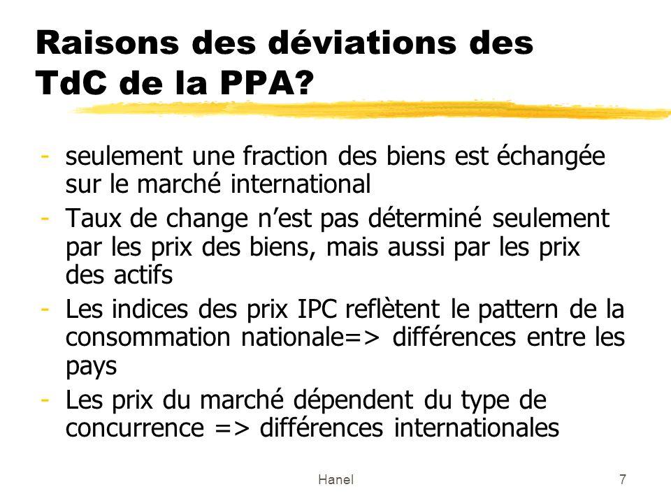 Raisons des déviations des TdC de la PPA