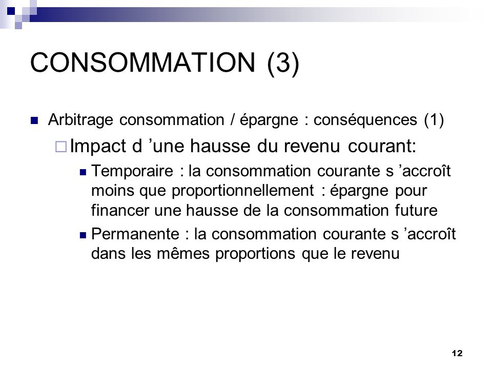 CONSOMMATION (3) Impact d 'une hausse du revenu courant: