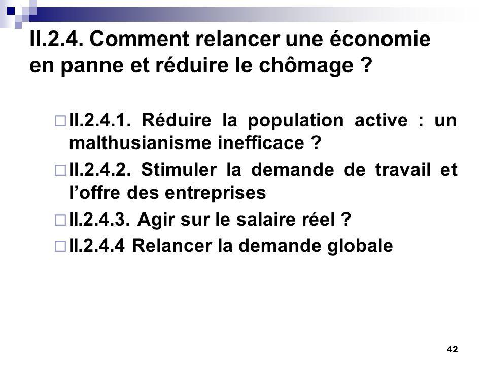 II.2.4. Comment relancer une économie en panne et réduire le chômage