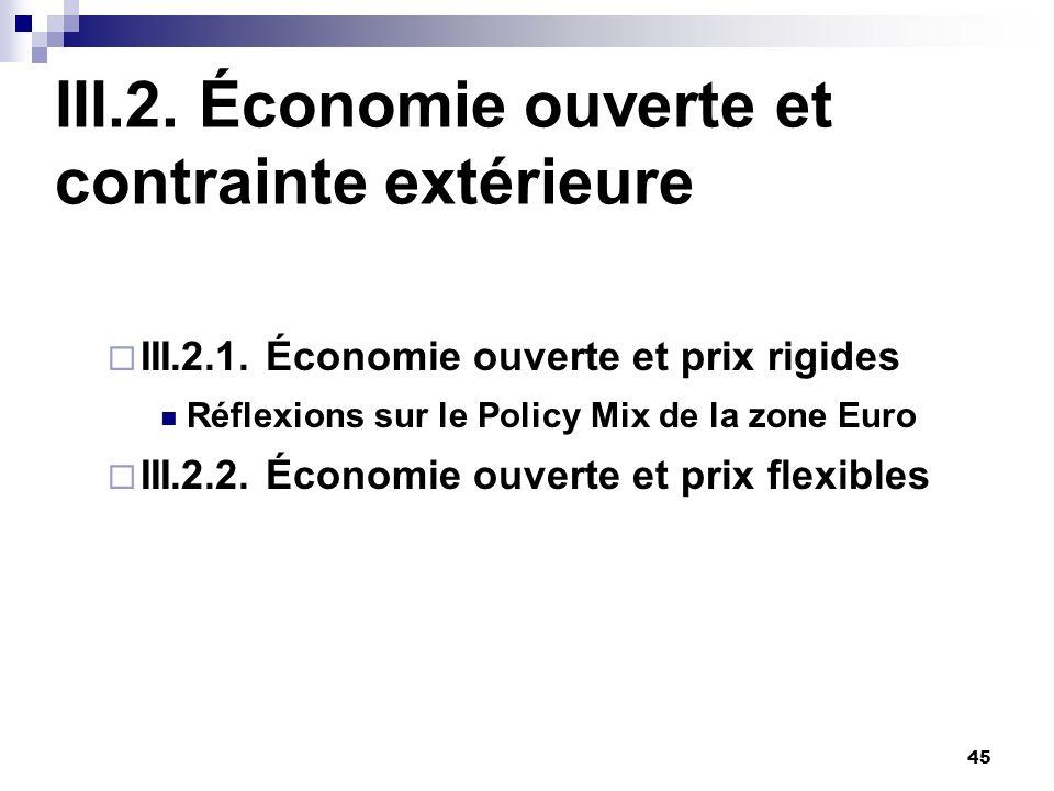 III.2. Économie ouverte et contrainte extérieure