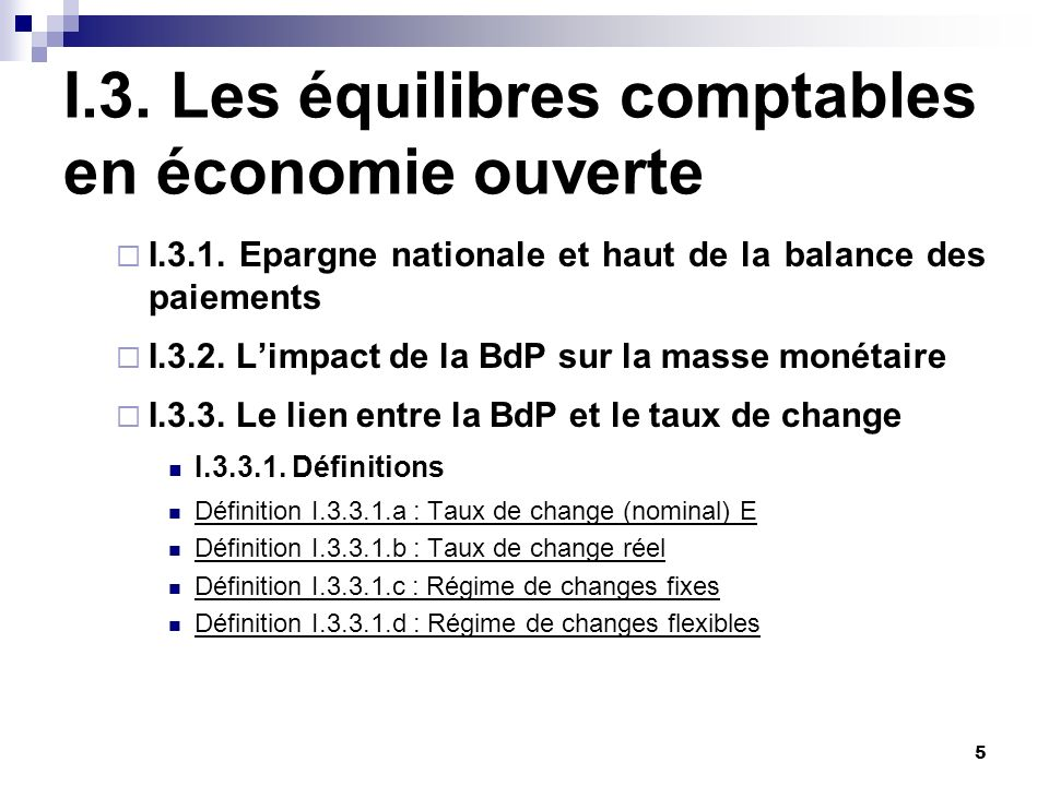 I.3. Les équilibres comptables en économie ouverte