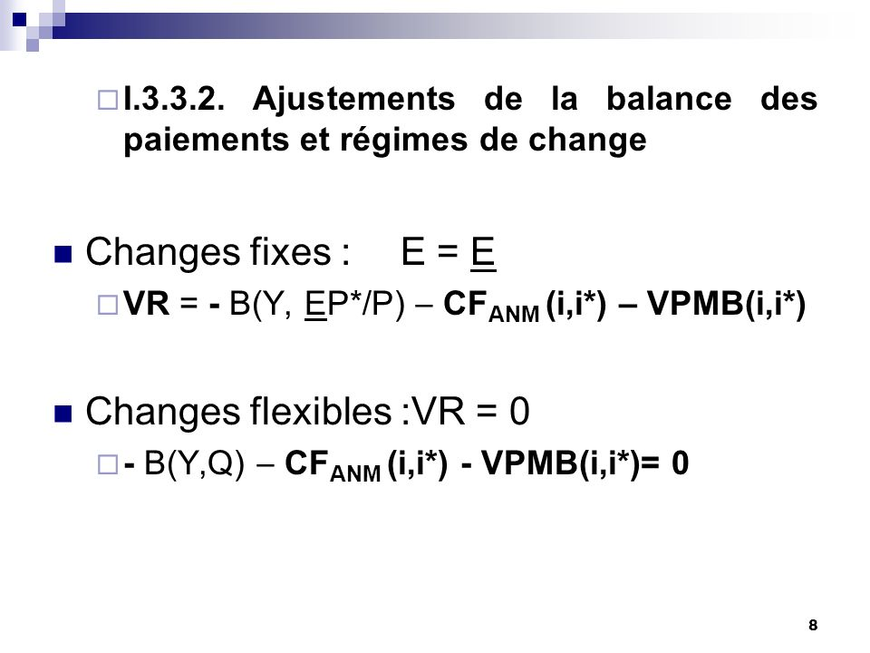 Changes flexibles :VR = 0