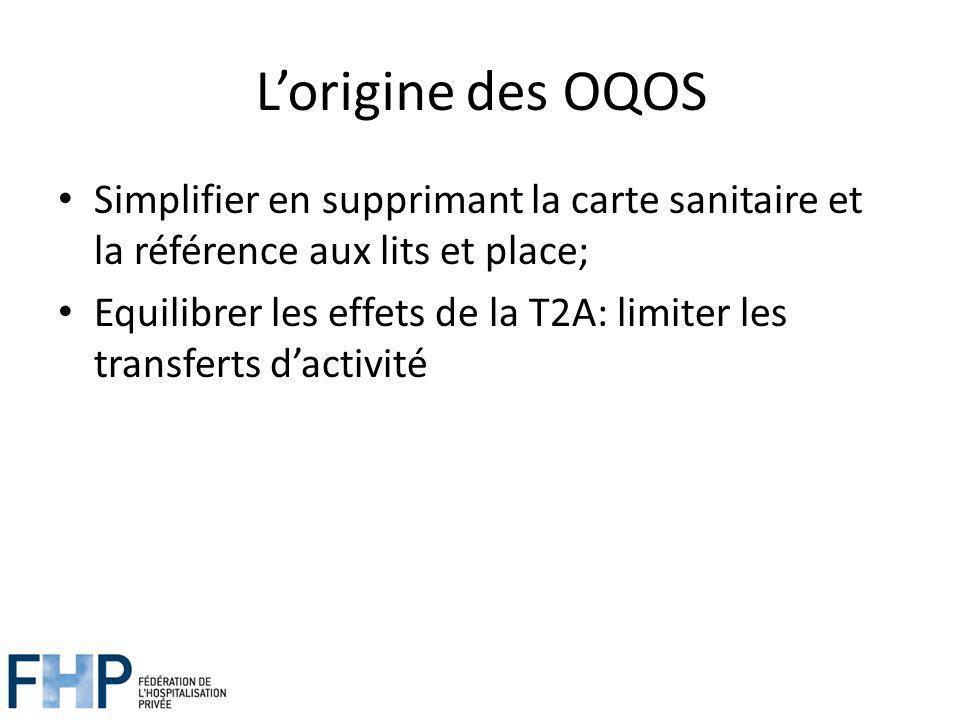 L'origine des OQOS Simplifier en supprimant la carte sanitaire et la référence aux lits et place;