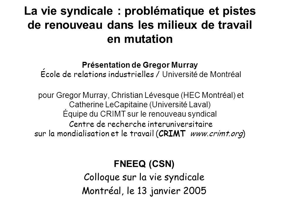 FNEEQ (CSN) Colloque sur la vie syndicale Montréal, le 13 janvier 2005