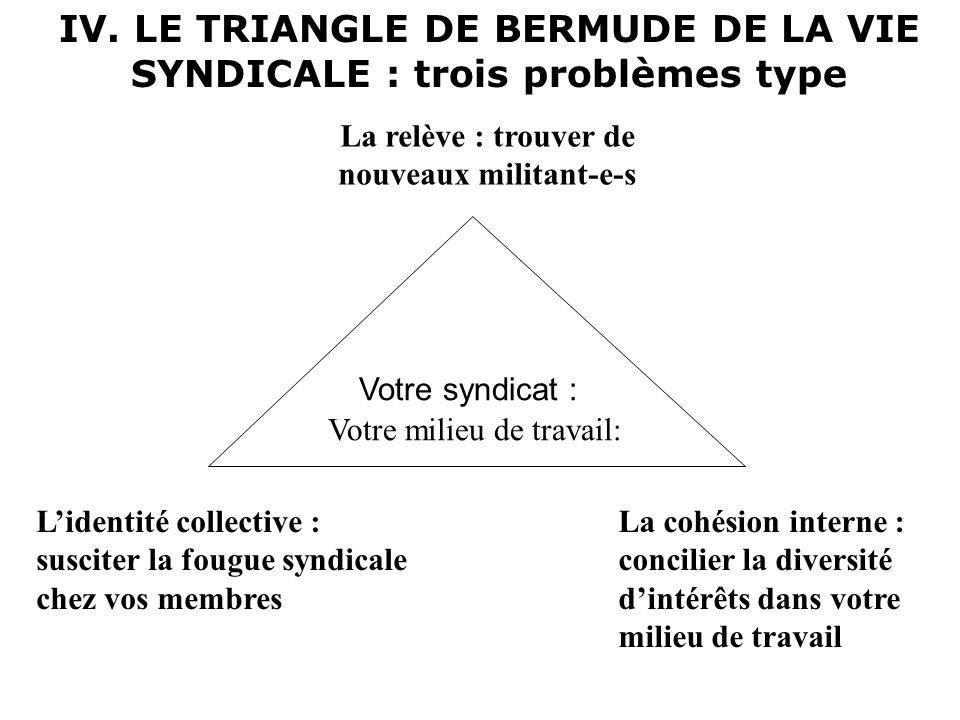 IV. LE TRIANGLE DE BERMUDE DE LA VIE SYNDICALE : trois problèmes type