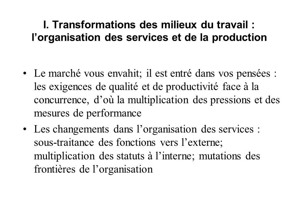 I. Transformations des milieux du travail : l'organisation des services et de la production