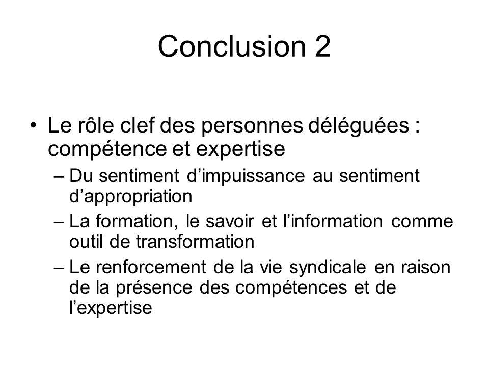 Conclusion 2 Le rôle clef des personnes déléguées : compétence et expertise. Du sentiment d'impuissance au sentiment d'appropriation.