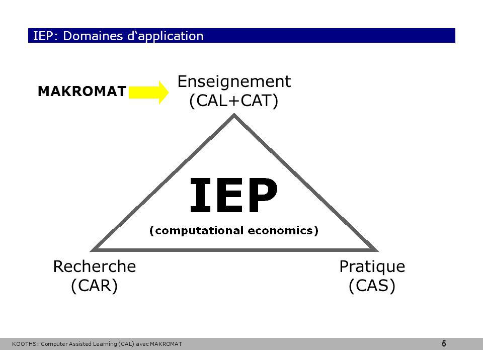 IEP: Domaines d'application