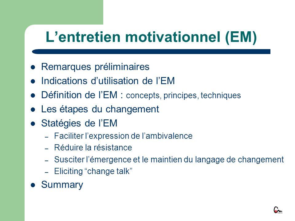 L'entretien motivationnel (EM)