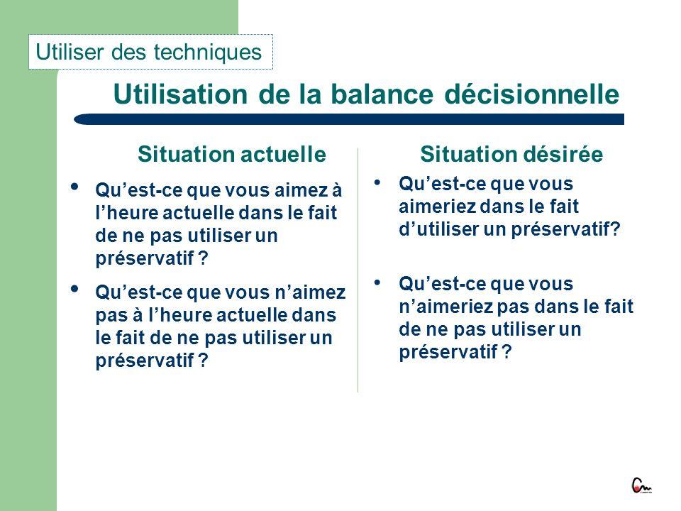 Utilisation de la balance décisionnelle