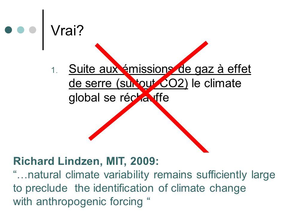 Vrai Suite aux émissions de gaz à effet de serre (surtout CO2) le climate global se réchauffe.