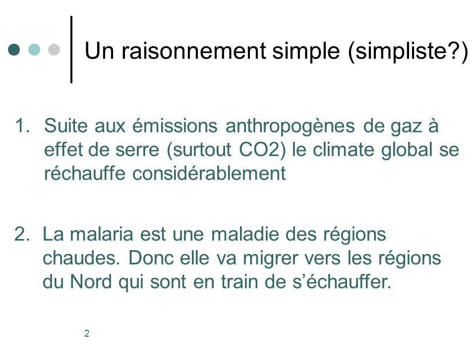 Un raisonnement simple (simpliste )