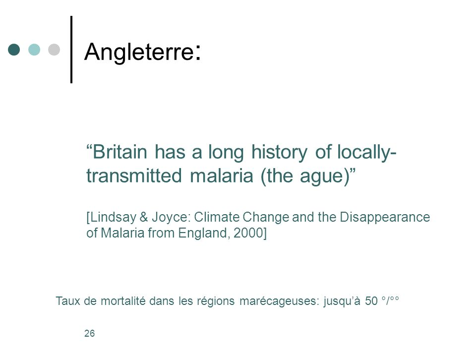 Angleterre: Britain has a long history of locally-transmitted malaria (the ague)