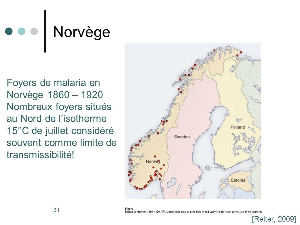 Norvège Foyers de malaria en Norvège 1860 – 1920