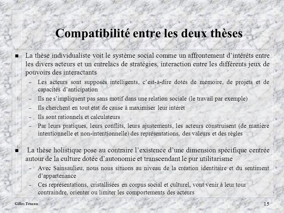 Compatibilité entre les deux thèses