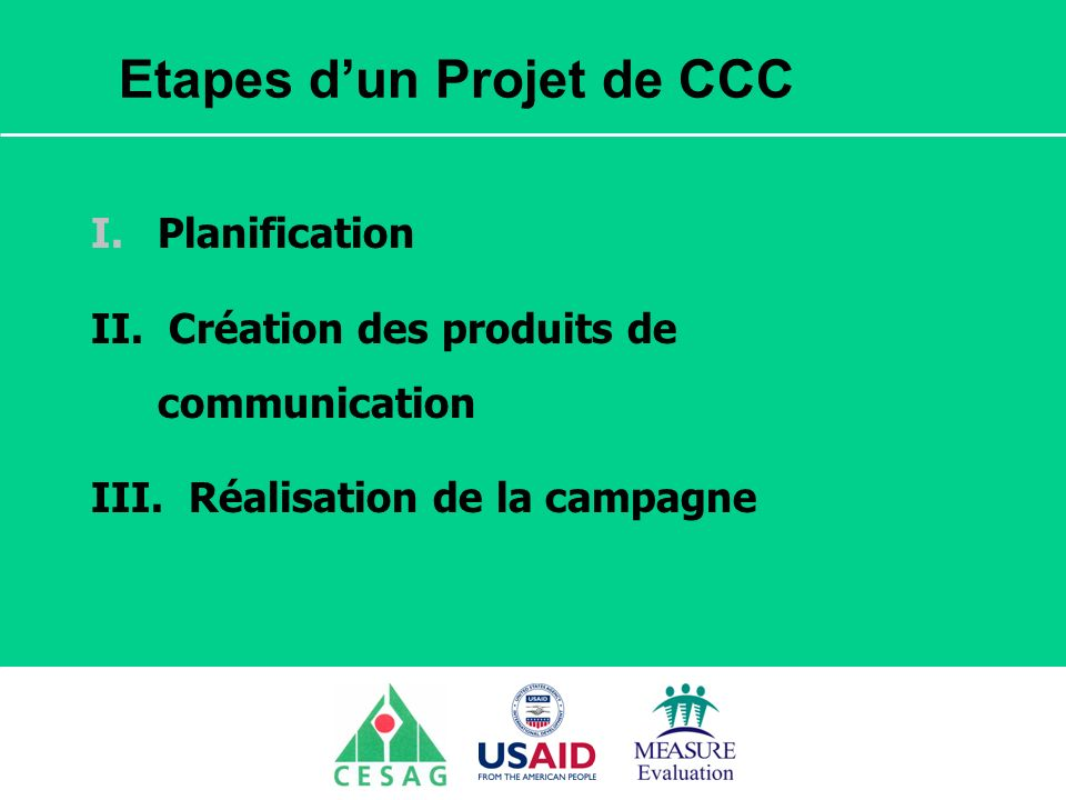 Etapes d'un Projet de CCC