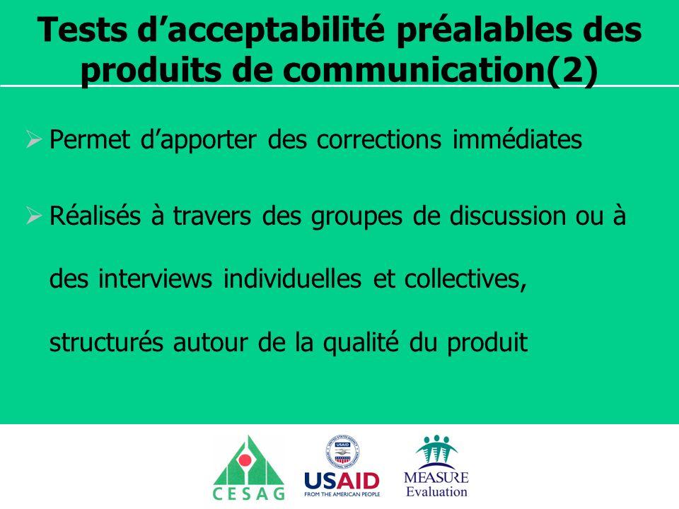 Tests d'acceptabilité préalables des produits de communication(2)