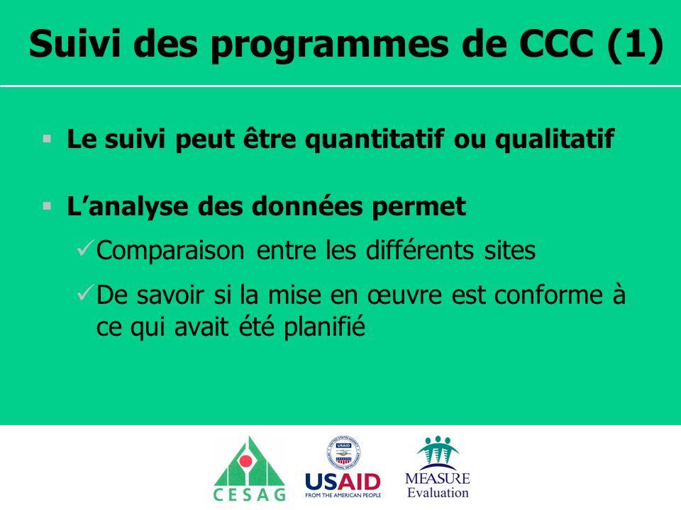 Suivi des programmes de CCC (1)