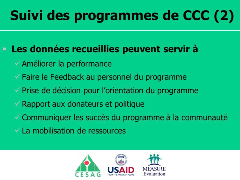 Suivi des programmes de CCC (2)