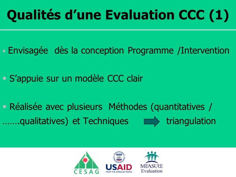 Qualités d'une Evaluation CCC (1)