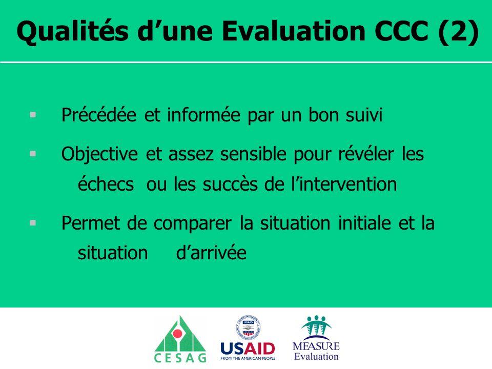 Qualités d'une Evaluation CCC (2)