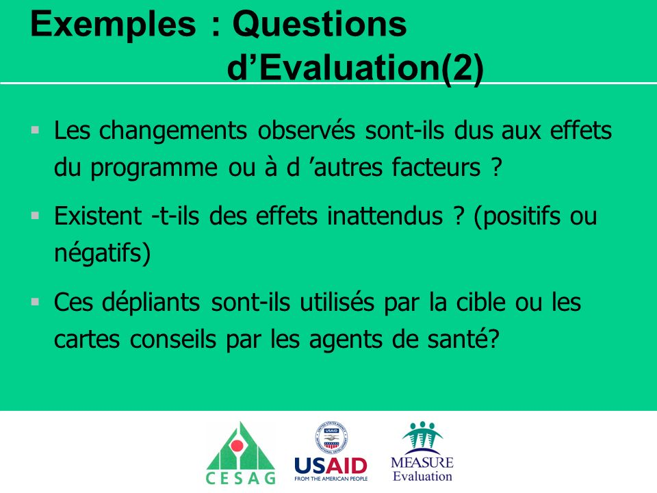 Exemples : Questions d'Evaluation(2)