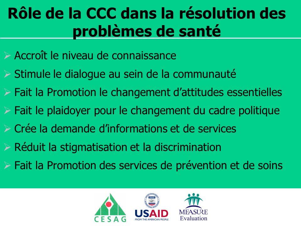 Rôle de la CCC dans la résolution des problèmes de santé