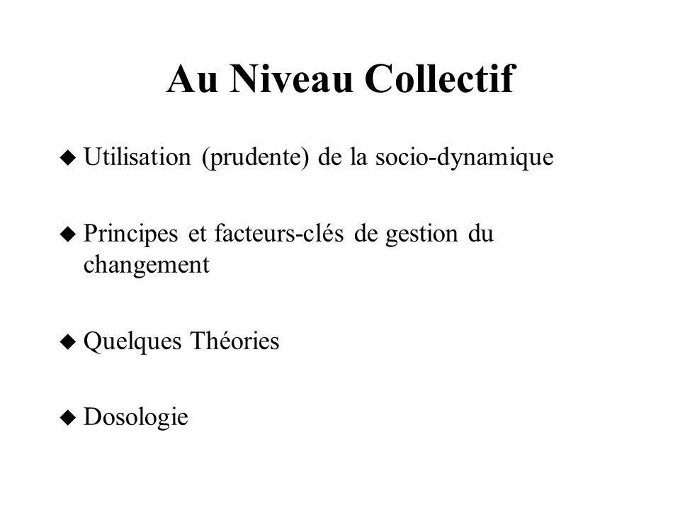 Au Niveau Collectif Utilisation (prudente) de la socio-dynamique
