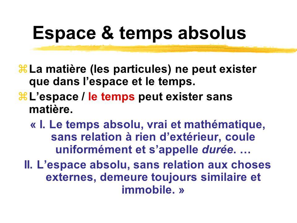 Espace & temps absolus La matière (les particules) ne peut exister que dans l'espace et le temps. L'espace / le temps peut exister sans matière.