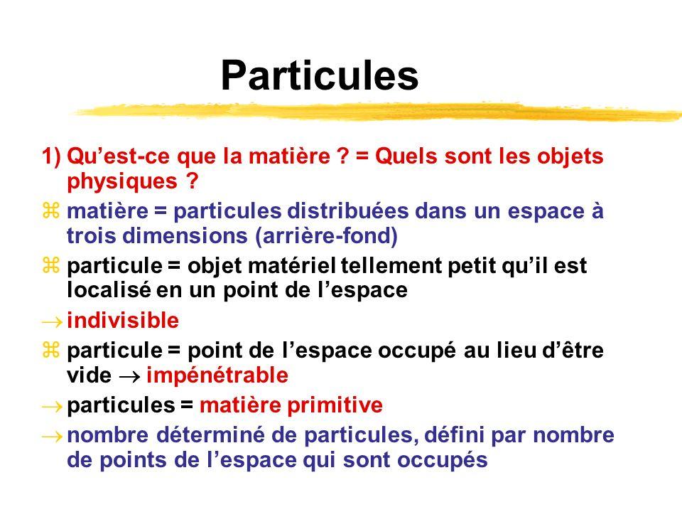 Particules 1) Qu'est-ce que la matière = Quels sont les objets physiques