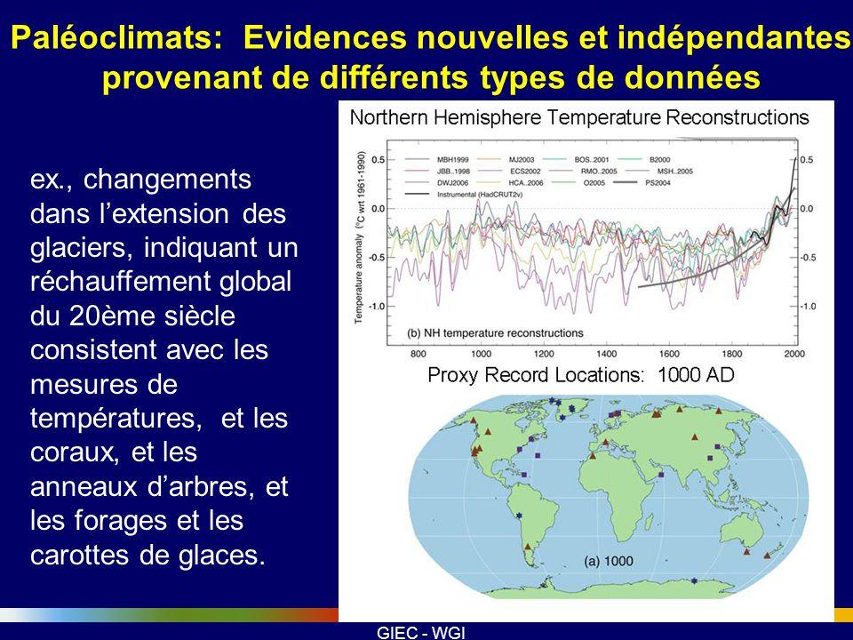 Paléoclimats: Evidences nouvelles et indépendantes provenant de différents types de données