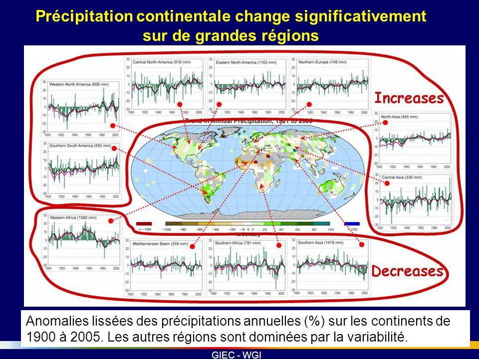 Précipitation continentale change significativement sur de grandes régions