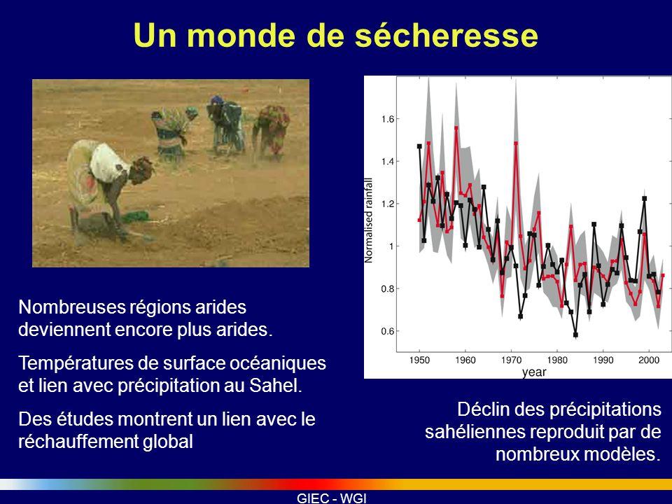 Un monde de sécheresse Nombreuses régions arides deviennent encore plus arides.