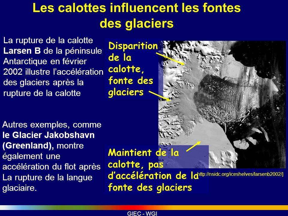 Les calottes influencent les fontes des glaciers
