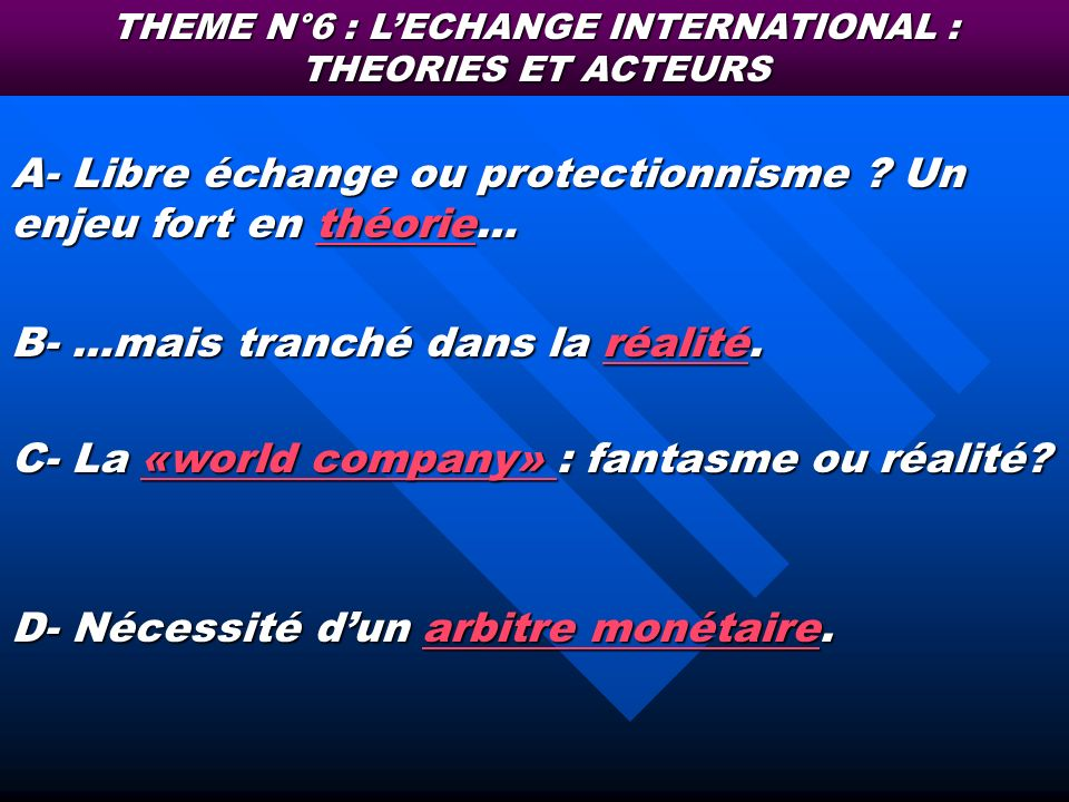 THEME N°6 : L'ECHANGE INTERNATIONAL : THEORIES ET ACTEURS