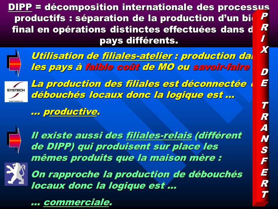 DIPP = décomposition internationale des processus productifs : séparation de la production d'un bien final en opérations distinctes effectuées dans des pays différents.