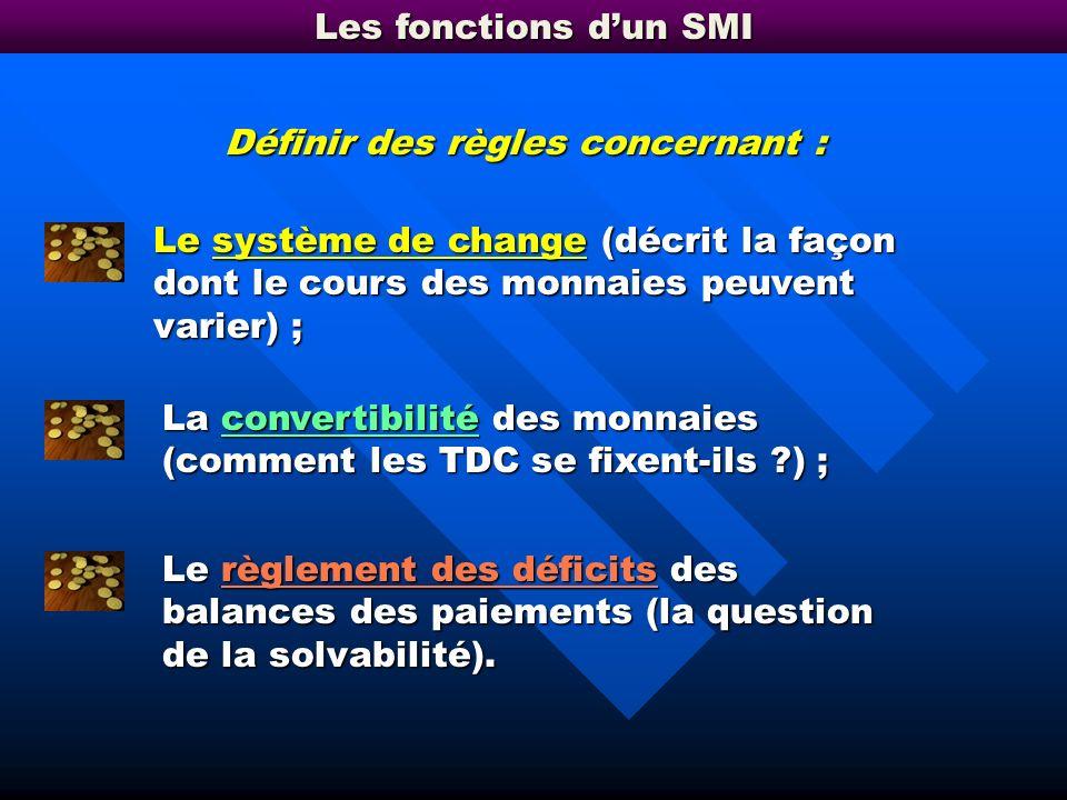 Les fonctions d'un SMI Définir des règles concernant : Le système de change (décrit la façon dont le cours des monnaies peuvent varier) ;