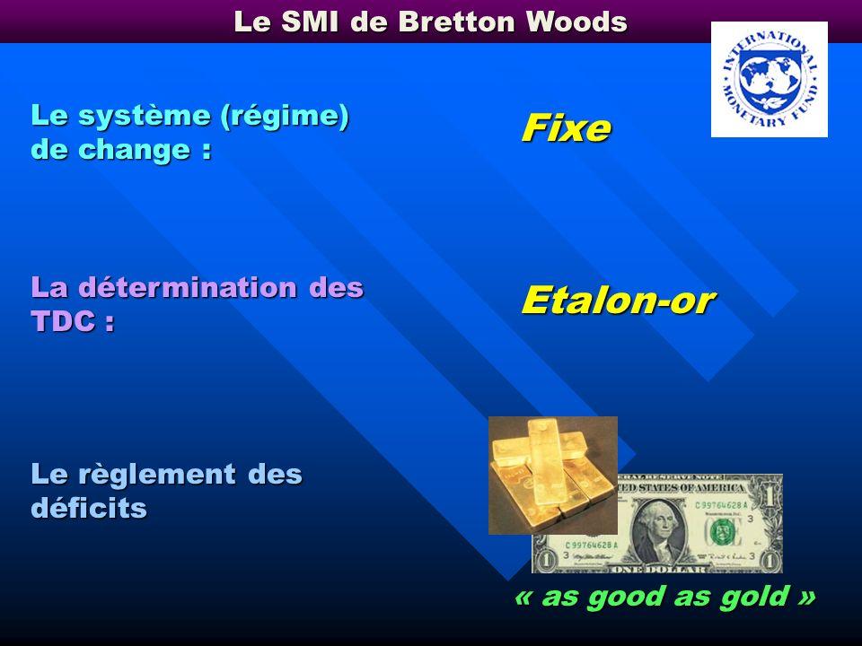 Fixe Etalon-or Le SMI de Bretton Woods Le système (régime) de change :