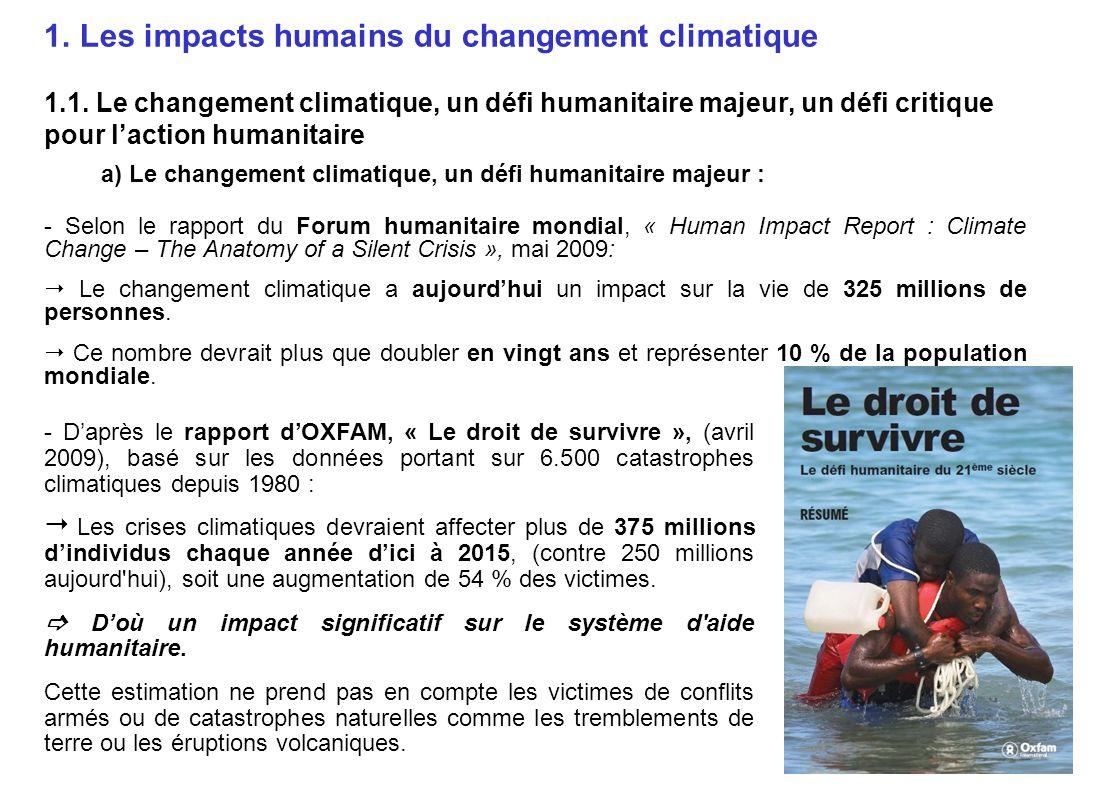 Les impacts humains du changement climatique 1. 1