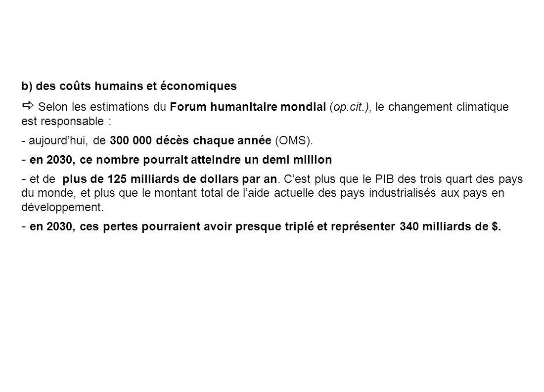 b) des coûts humains et économiques