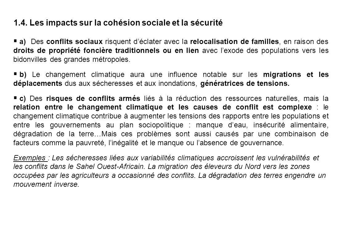 1.4. Les impacts sur la cohésion sociale et la sécurité