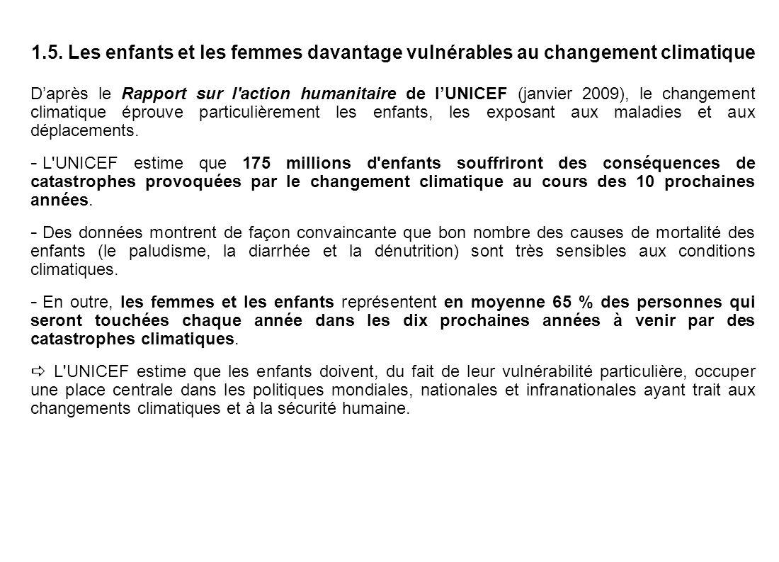 1.5. Les enfants et les femmes davantage vulnérables au changement climatique